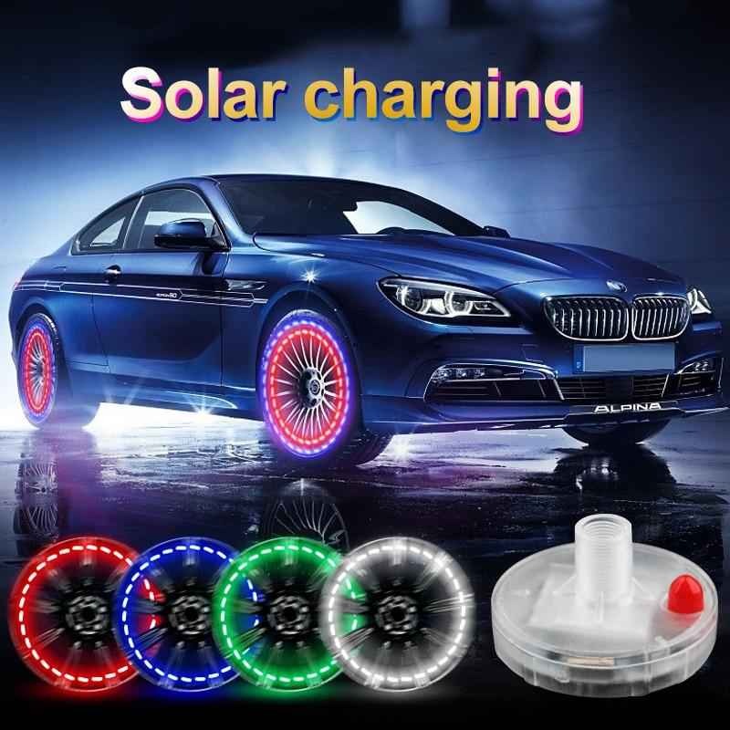 4pcs/lot Stunning Waterproof Solar Car Tuning Aas Nozzle Cap Lamp Rim Light Wind Fire Wheels Led Flash Lamp Tyre Light AE DIY