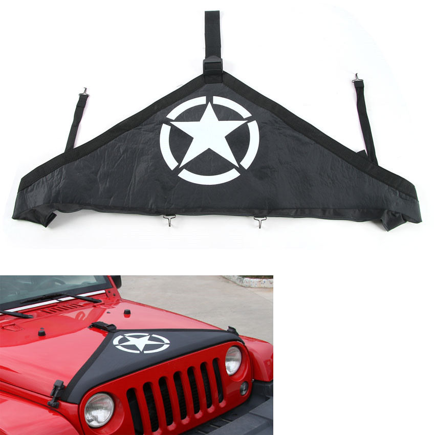 YAQUICKA Car Canvas Front Hood End Bra Cover Protector Kit Black For Jeep Wrangler 2007-2017 Car-styling Exterior Accessories car styling top mount hardtop rear grab handle bar front rear interior parts metal for jeep wrangler 2007 later