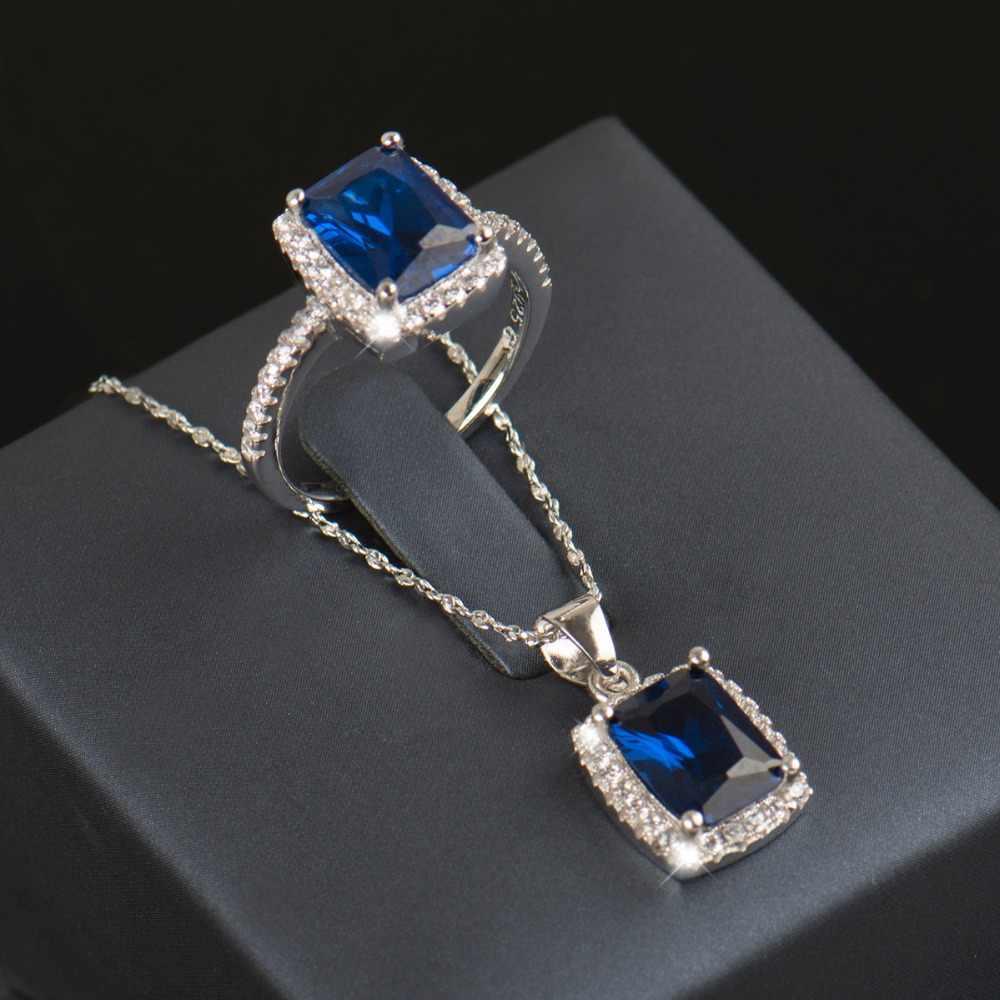R & J 5 צבע חדש אופנה כחול 5A זירקון 925 כסף סטרלינג תכשיטי סט שרשרת/תליון/טבעת עבור נשים חתונת אירוסין סטים