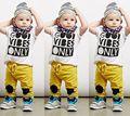 2 unids Moda Ropa Del Bebé Del Verano Del Niño Del Cabrito Niños Camiseta Top + Pantalones de Los Chándales de Trajes de Algodón Fijó 6 M-5 T