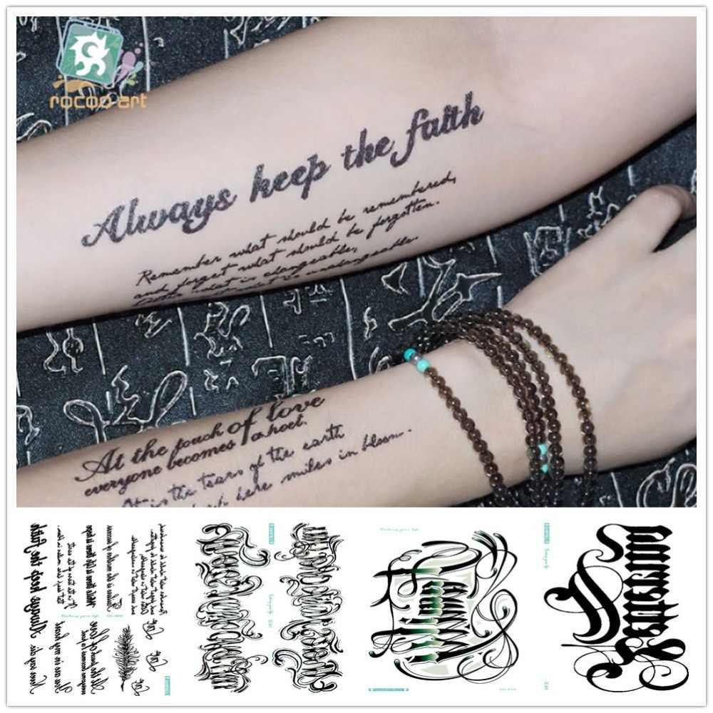 Rocooart QC 21x10CM İngilizce kelimeler dövme çıkartmalar siyah harfler sahte dövme vücut sanatı su geçirmez geçici Taty arapça Tatouage