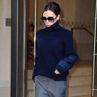 Turtleneck Sweater Women 2016 Autumn Winter Casual Knitted Pullover Victoria Beckham Fashion Long Sleeve Navy Khaki