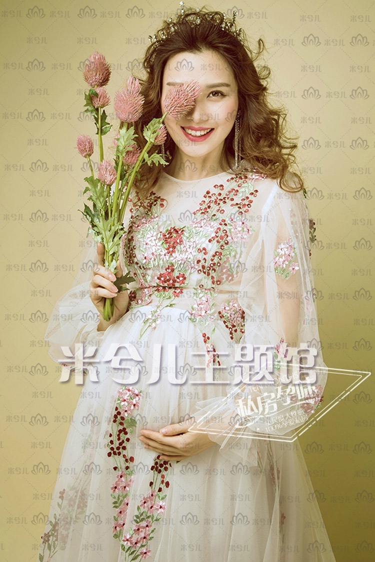 NEW Pregnant Maternity Women Photography Fashion Props Dress Romatic Fancy Baby Shower Free shipping Flower dress менажница круглая lcs сады флоренции lcs092 bo al