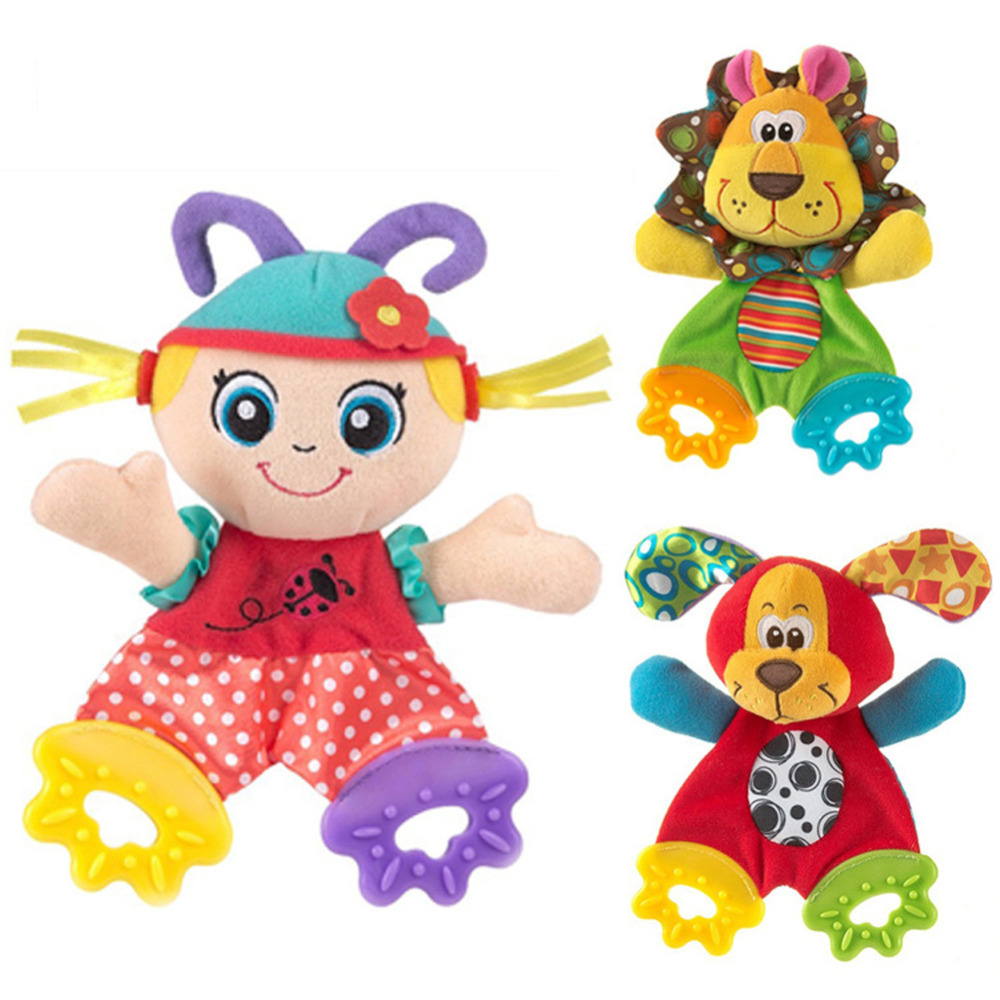 Cartoon Animal Newborn Hand Bells Plush Doll Baby Rattles Playmate Doll Teether Kids Christmas font b
