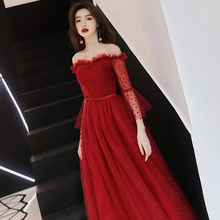 2019 New Fashion Evening Dresses Elegant Wedding Formal Prom Dress Boat Neck Flare Sleeve Ankle-length A-line Party Gowns E301