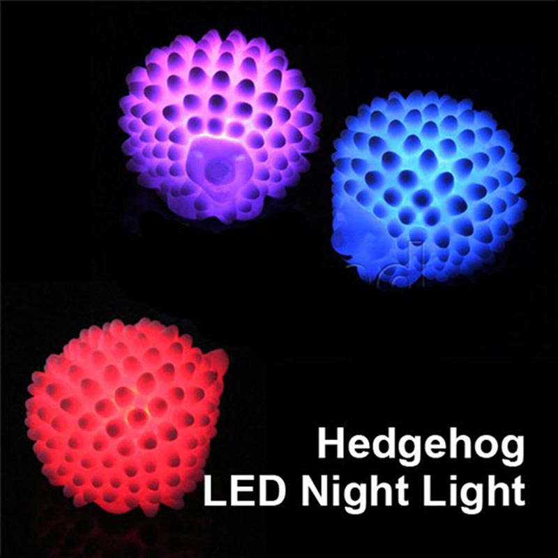 Party Christmas Halloween Led Light Decoration Hedgehog Shape LED 7-Color Changing Night Light Lamp Glow Party Supplies DA