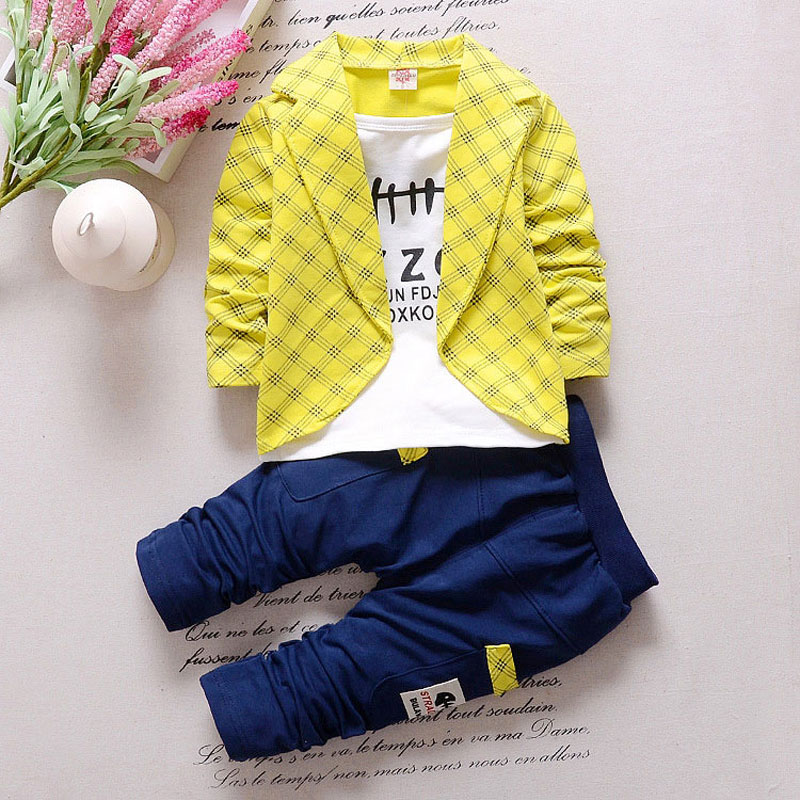 Plaid Baby Boy Set Spring Newborn Clothes Letter Print Suit Open Stitch Coat+T-shirt+Pant Infantil Baby Clothing High Quality