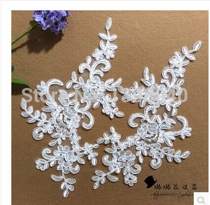 2014 new  high quality ivory  white lace  applique 25*13cm for dress  - Arts, Crafts and Sewing