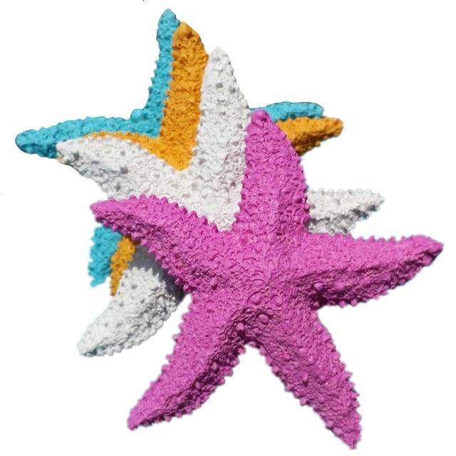 VILEAD 2.9'' Resin Starfish Figurines 4 Colors Mediterranean Style Home Decoration Mini Starfish Ornament for Taking Photo Props 2