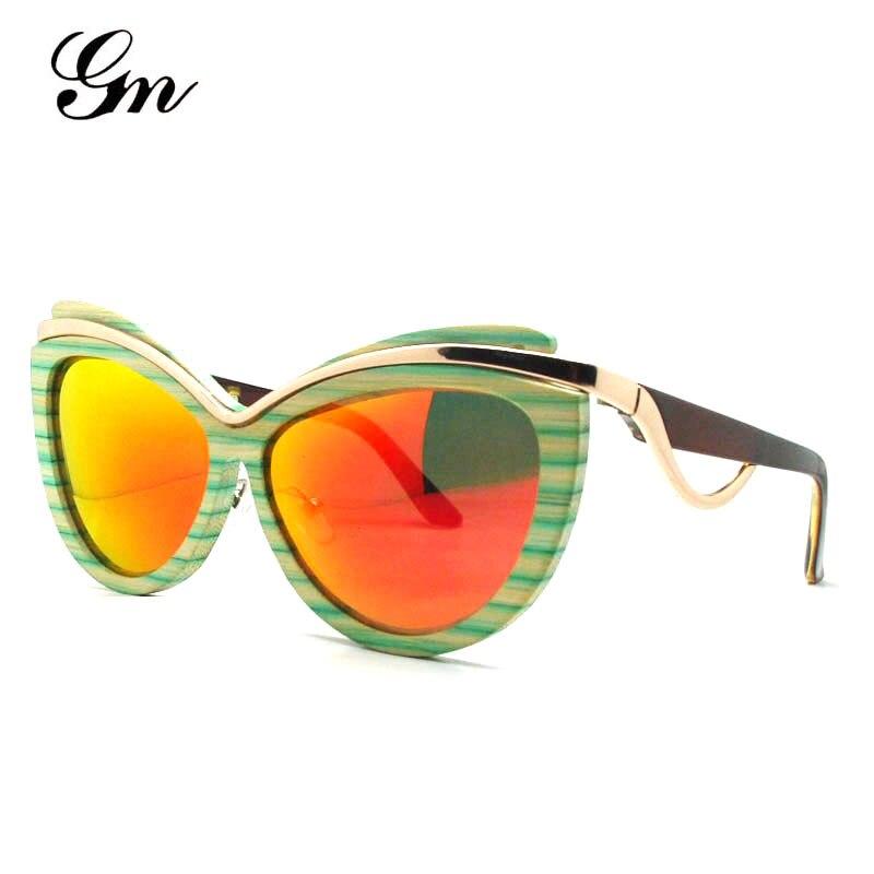 G M Wood Sunglasses for Men and Women Skateboard Wood Frame Shades Cat Eyes Shape Glasses