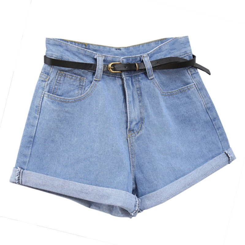 Solid Women Retro Jeans   Shorts   Summer High Waisted Rolled Denim Jean   Shorts   with Pockets H6
