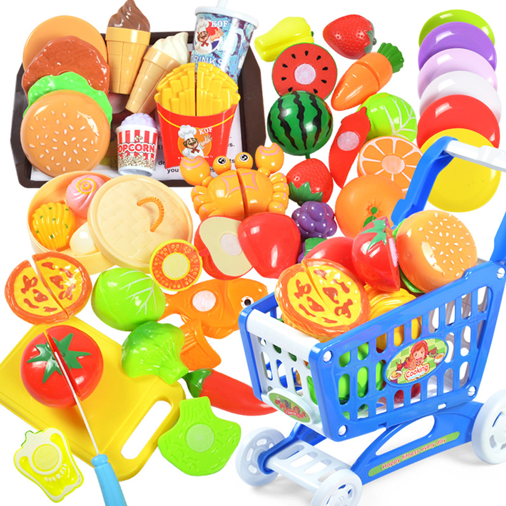 Baby Cutting Fruit Vegetable Cake Toys Pretend Play Kitchen Toys Miniature Food For Dolls Simulation Kitchen Kit Tools For Child