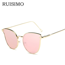 Pink vintage Mirror female Women Cat Eye Sunglasses round Brand Designer arrow ladies Sun glasses for women Oculos Feminino