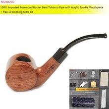 MUXIANG 10Tools kevazingo wood Bubinga Freehand Tobacco Pipe Novelty Barrel Shape 9mm Filter Smoking Pipes for New Smoker ad0003