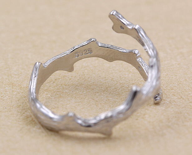 Flyleaf 925 Sterling Silver tree branches Opening Ring For Women Fashion Engagement Ring Sterling-silver-jewelry