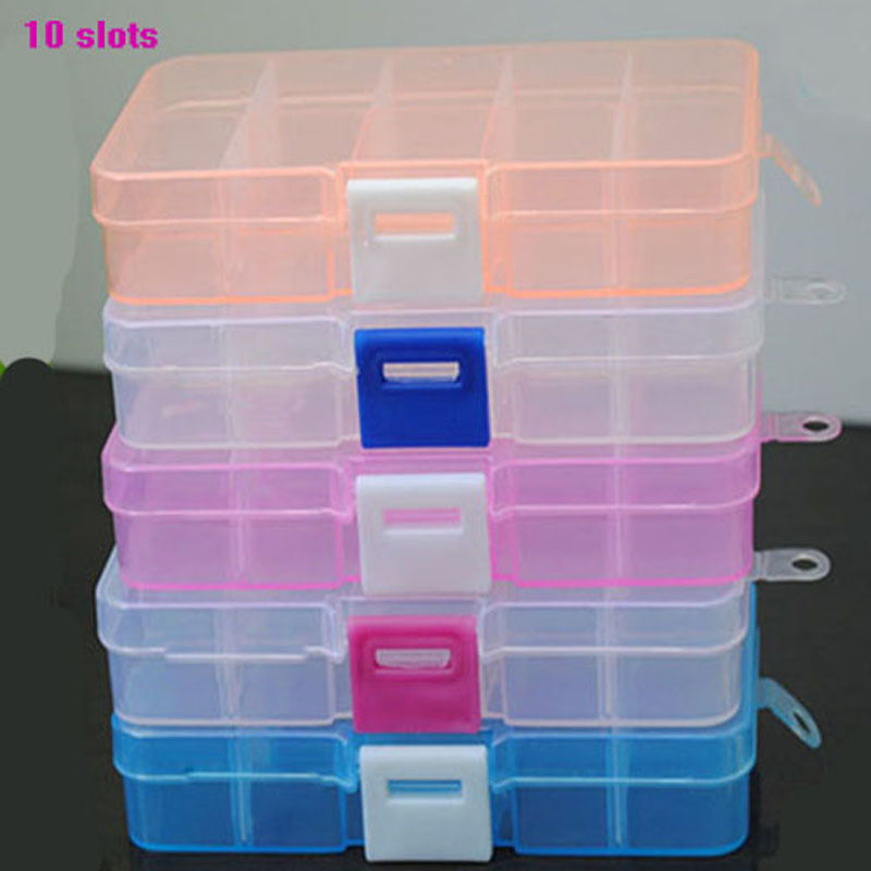 1pcs New Plastic 10 Slots Pill boxes Craft Organizer Beads Adjustable Jewelry Storage Box Case Home Garden