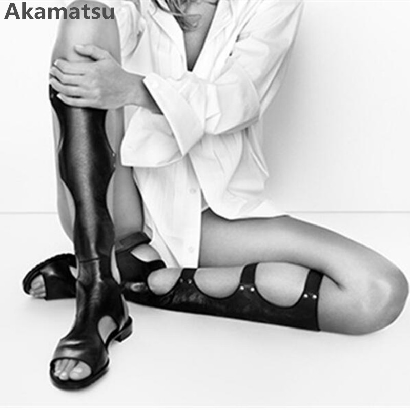 Akamatsu black sexy cut out long overknee gladiator sandals snakeskin summer leather botines mujer 2018 bota