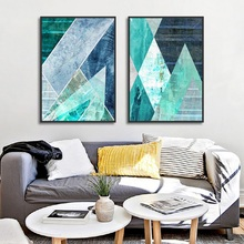 Абстрактная Геометрическая Бирюзовая Картина на холсте скандинавские украшения фотографии на домашней стене для гостиной Декоративные плакаты и принты