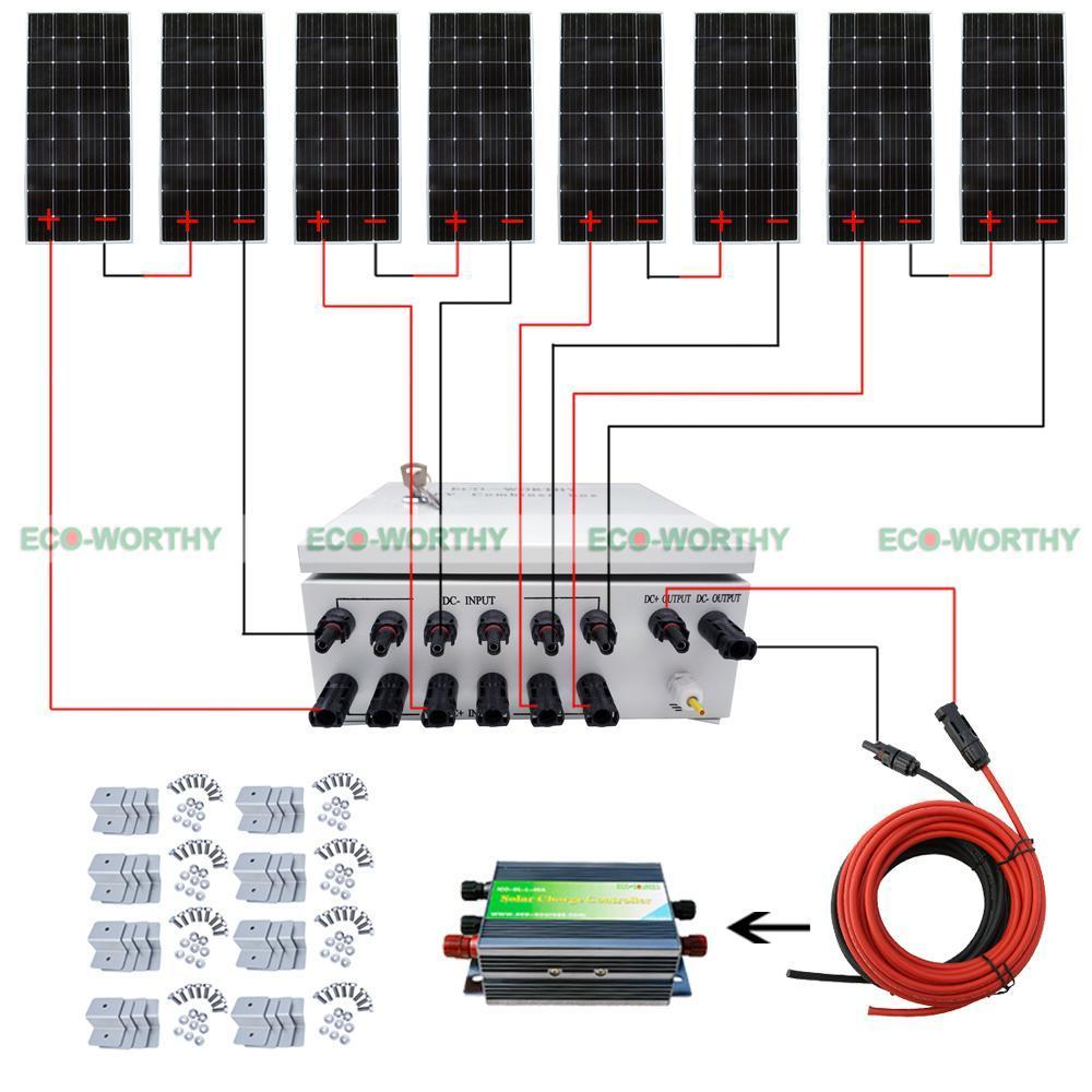 8pcs 160W 12V PV Mono Solar Panel W/ 6 String Combiner Box 45A PWM Controller Solar Generators 12 string input to 1 string output for off grid solar energy system photovoltaic array solar pv combiner box