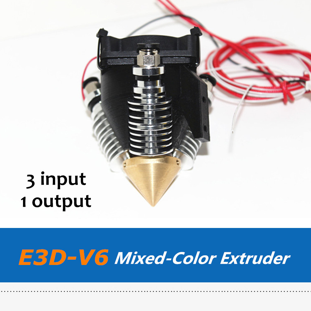 Reprap 3D Printer Parts E3D-V6 Triple Inputs One Extruder Kit For Mix Color 3D Printing