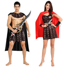 Halloween Carnival Ancient Roman Greece Soldier Gladiator Costumes Leather Spartan Warrior Costume for Adult Men Women Couple