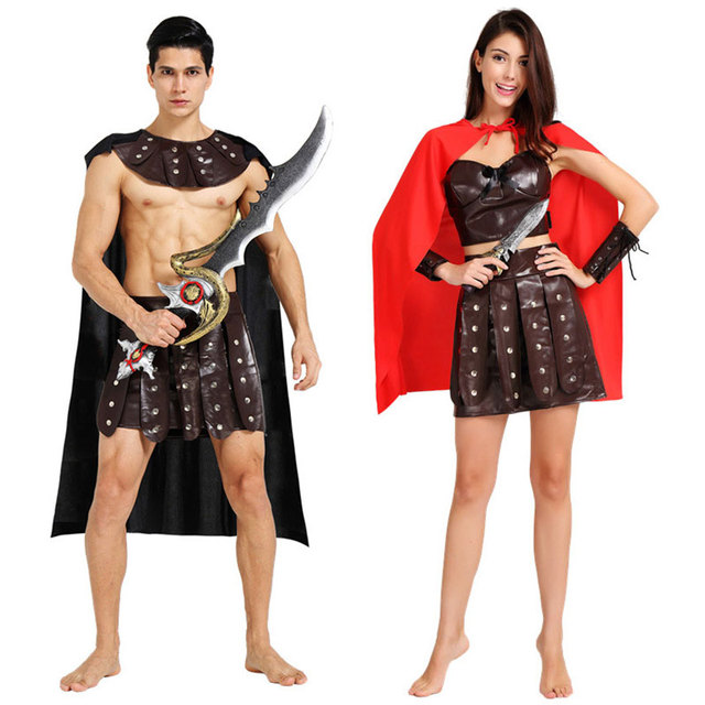 Marvelous Umorden Halloween Ancient Roman Greek Soldier Gladiator Costumes Leather Spartan  Warrior Costume For Adult Men Women Couple