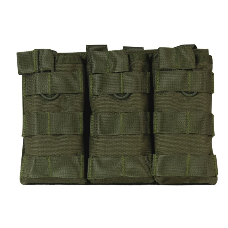 Tactical MOLLE Triple Open-Top Magazine Pouch FAST AK AR M4 FAMAS Mag Pouch 1000D Nylon Military Paintball Equipment image