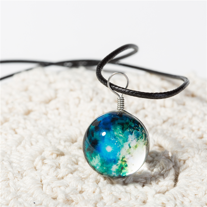Crystal Ball Necklaces Glass Galaxy