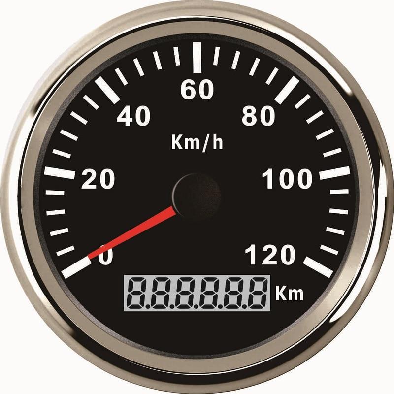 Waterproof 85mm GPS Speedometer Gauge 120KM H Speed for Car Truck Motorcycle 12V 24V With Backlight