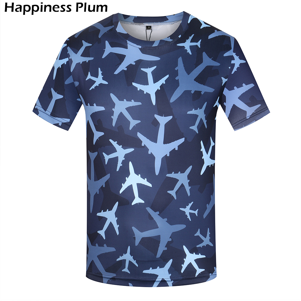 KYKU Aircraft Men T Shirt Camouflage Shirt Military T Shirt Fitness Abbigliamento uomo blu 3d Print T-shirt 2018 Estate Casual Top