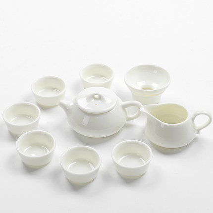 Dehua white porcelain stone ladle pot tea set home ivory jade kungfu Teapot Teacup filter gift preferred