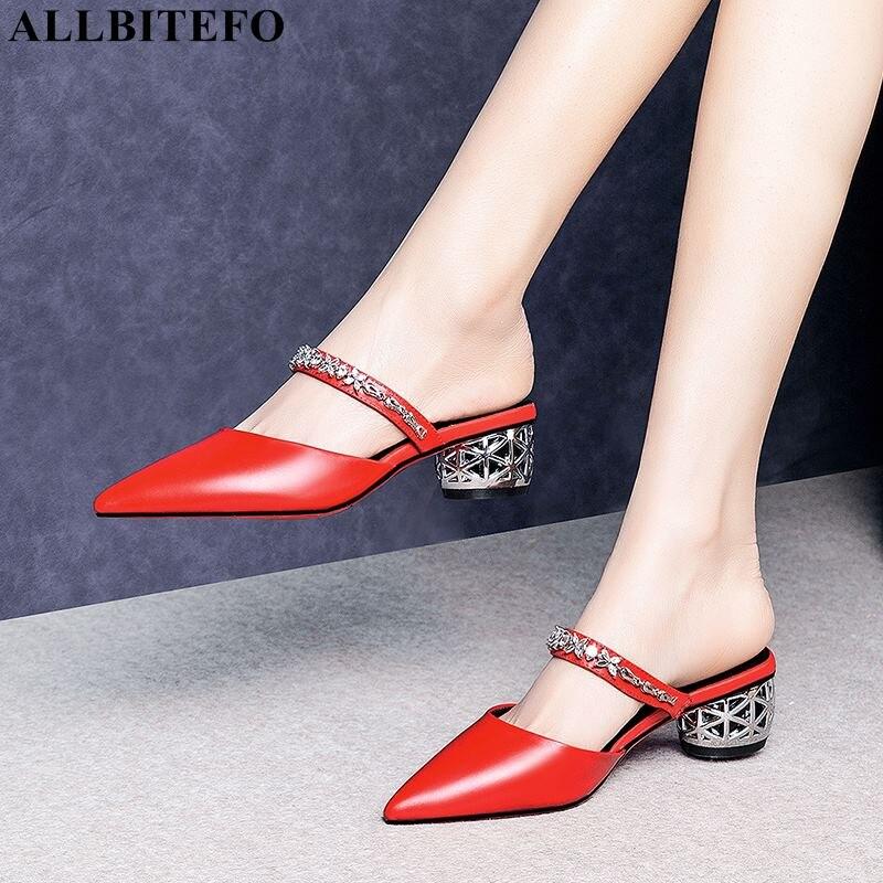 Allbitefo Große Größe 34-42 Echtem Leder High Heels Party Frauen Schuhe Hohe Qualität Frauen Hohe Ferse Schuhe Sommer Frauen Pantoffel Hausschuhe Frauen Schuhe