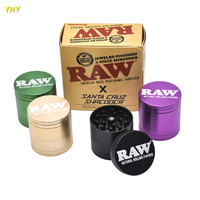RAW Grinders Aluminum Smoking Grinders for Tobacco 53mm Tall RAW Colored Package Metal Glass Spoon Pipe Hookahs