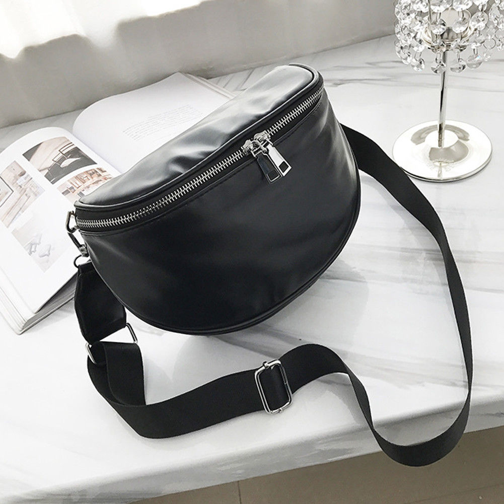 Women's Fanny Pack Fashion Solid Color PU Leather Large Capacity Waist Bag Leisure Travel Heuptas