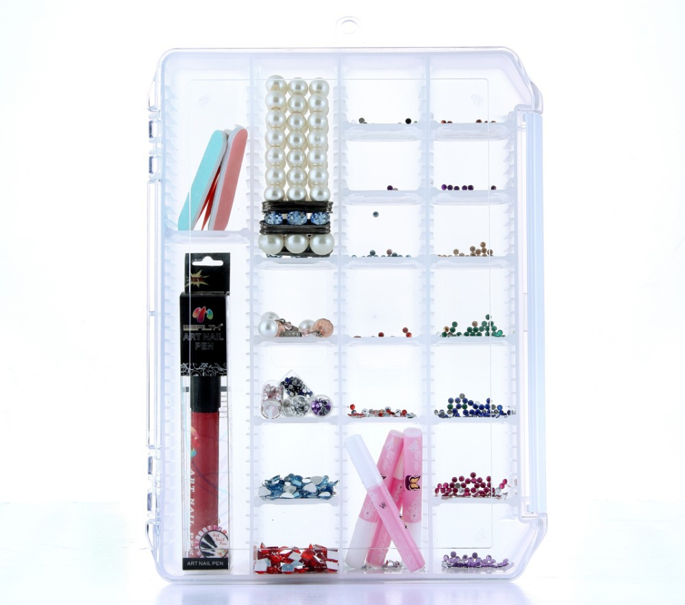 Plastic enclosure 28 Slots Adjustable Storage Box for electronic component Splittable