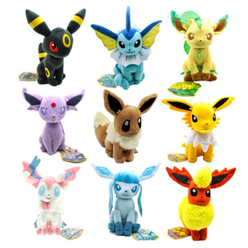 9pcs 8 20cm Animal Cartoon Umbreon Eevee Espeon Jolteon Vaporeon Glaceon Leafeon Soft Stuffed Plush Toy