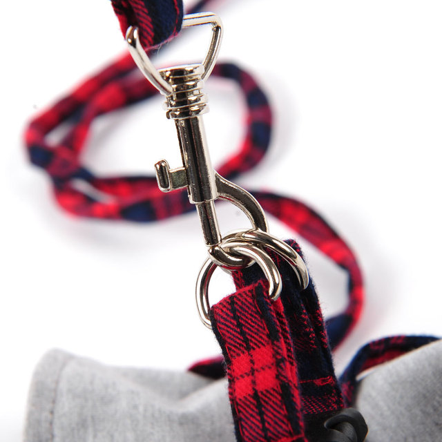 HOOPET Tessuto Samll Cat Dog Walking Harness Jacket + Guinzaglio Set 2 Dimensione Fashion Design di Alta Qualità di Stile Britannico Buona ventilazione
