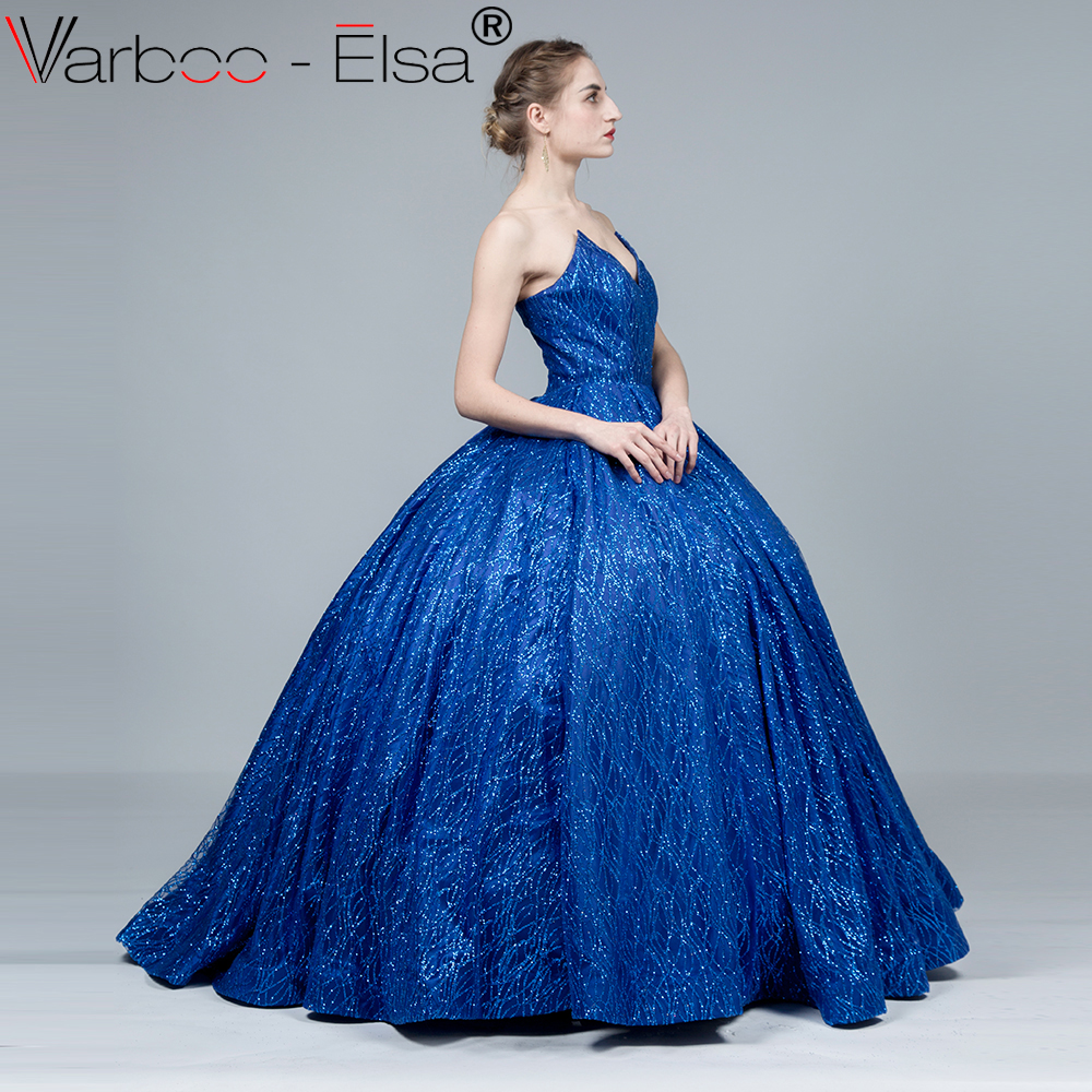521f9c4b127 VARBOO ELSA Hot Sale Shiny Royal Blue Evening Dresses Sexy Backless  Sleeveless Party Ball Gown vestido de festa Long Prom Dress-in Evening  Dresses from ...