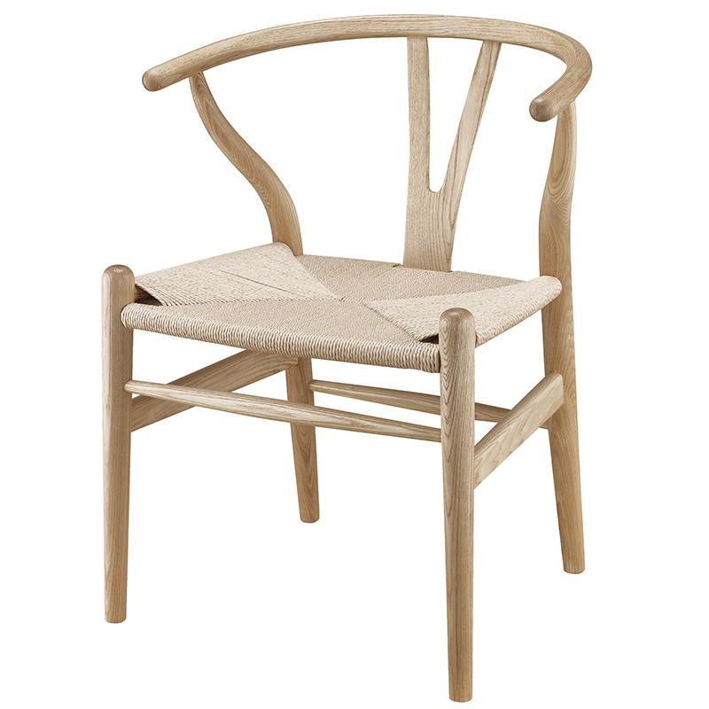 Chaise en bois Wishbone Hans Wegner Y chaise solide en bois de frêne meubles de salle à manger de luxe chaise à manger fauteuil Design classique