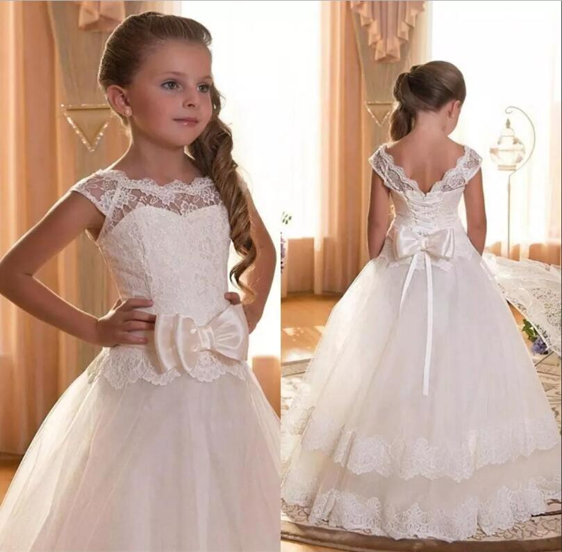 White Ivory Girls First Communion Gown Bow A Line O-Neck Princess Pageant Gown Flower Girl Dress white ivory butterfly lace flower girl dress bow sash sleeveless a line vestidos longo custom made first communion gown 2017