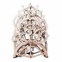 2019 New DIY Gear Drive Pendulum Clock by Clockwork 3D Wooden Model Building Gift Toys
