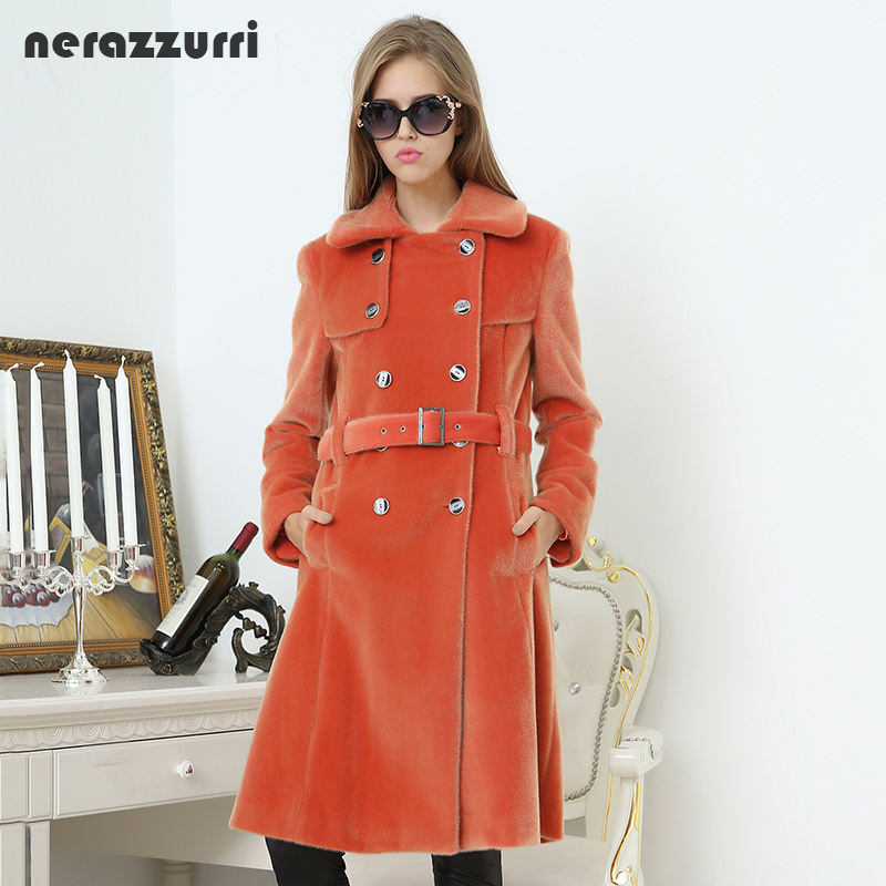Nerazzurri Long trench coat for women fashion 2019 autumn double breasted casual slim british style orange faux fur overcoat