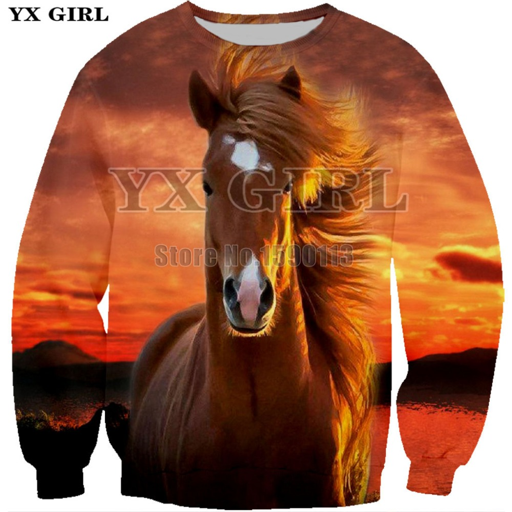 Colorful Horse 3D Sweatshirts Unisex Hoodies With 3D Print Hoodie Unique Autumn Winter Loose Thin Hooded Hoody Top plus size 7XL