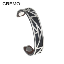 Cremo Pyramid Stainless Steel Bracelets & Bangles For Women Geomereic Bracelets Femme Reversible Leather Band Arm Cuffs Pulseras