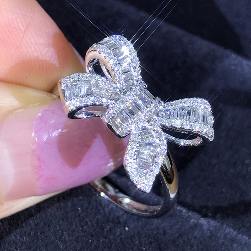 High Quality Silver Color Bowknot Ring Female Simple Cocktail Cute CZ Women Ring Zircon Women Party Wedding Jewellery