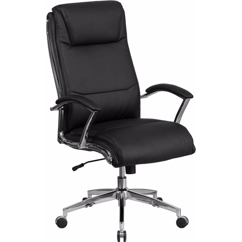 Flash Furniture High Back Designer Black Leather Executive Swivel Office Chair With Padded Arms And Chrome Base