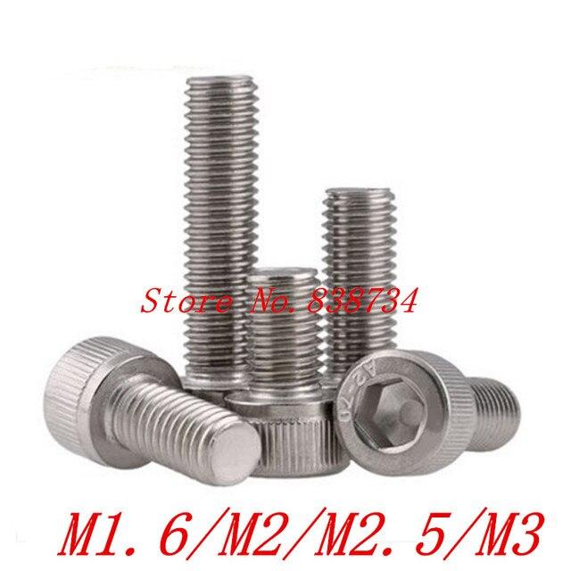 50 pcs din912 M1.6 M2 M2.5 M3 acier inoxydable hex allen socket cap machine vis