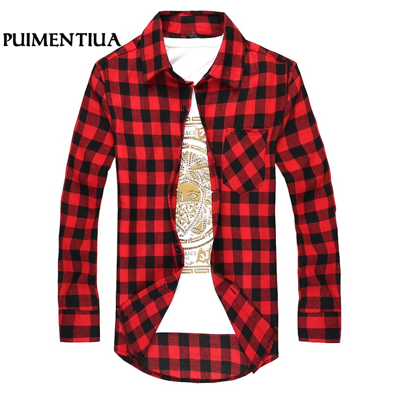 Puimentiua New Spring Autumn Men Checkered Shirt Fashion Button Down Long Sleeve Casual Shirts Cotton Plaid Male Slim  Shirt