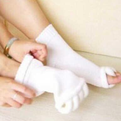 1Pair Health Sleeping Foot Care Massage Socks Men Women Five Toe Fingers Treatment Compression Socks
