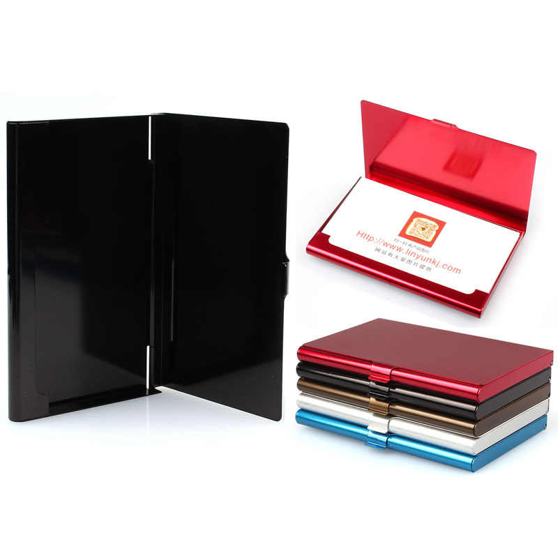 Creative Aluminum Holder Metal Box Cover Credit Business Card Wallet solid color unique design Drop Shipping